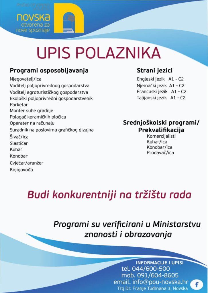 Oglas za upise u programe obrazovanja POU Novska.