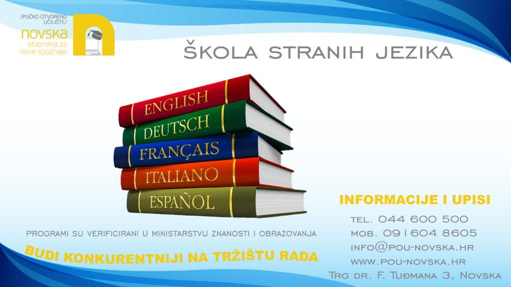 Oglas za školu stranih jezika.